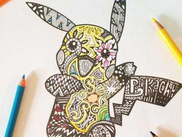 pikachu dibujo de mandalas - pokemon,dificil,alegre,
