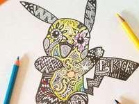 rysunek mandali pikachu