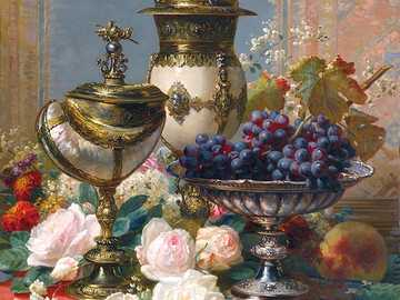 Still life with grapes - Painting by Jean-Baptiste Robie.