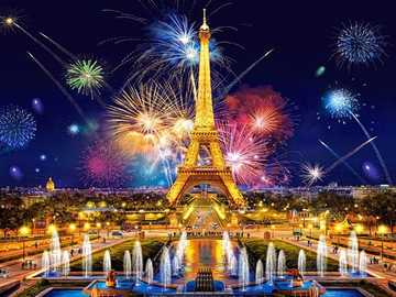Fireworks in Paris. - Puzzle: fireworks in Paris.