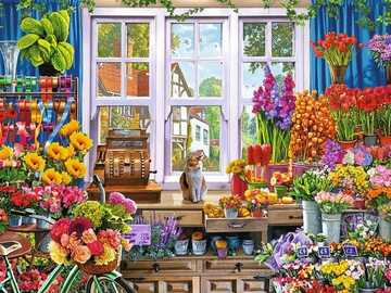In a painted flower shop. - Puzzle: in a painted flower shop.