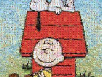 El cómic de maní - Este es un rompecabezas de mosaico fotográfico de Charlie Brown y Snoopy que fue creado por Charles