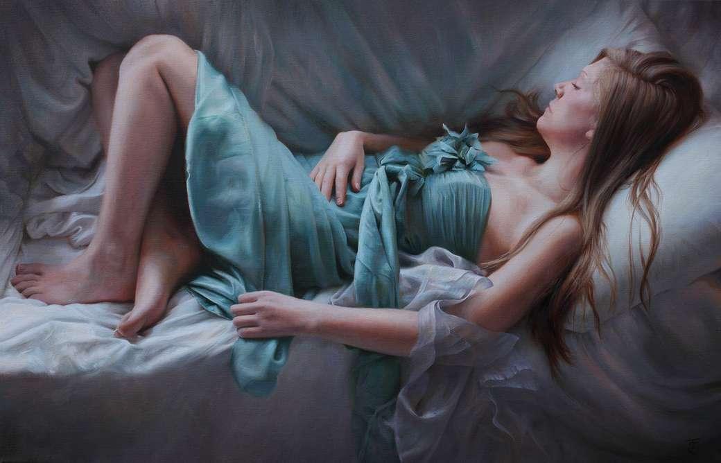Ξαπλωμένη γυναίκα - Λάδι σε καμβά - Εργασία της υπερ-ρεαλιστικής ζωγράφου Tina Spratt (9×6)