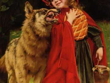 Little Red Riding Hood - Little Red Riding Hood and the wolf. A painting by Gabriel Ferrier.