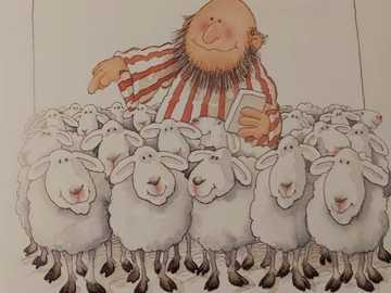 Pasterz i owce - Pasterz liczy małe owce. On ma 99 lat.