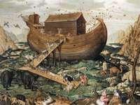 Noah's Ark op de berg Ararat - Werk van Simon de Myle. Hoogte: 114 cm (44,8 inch); Breedte: 142 cm (55,9 inch)
