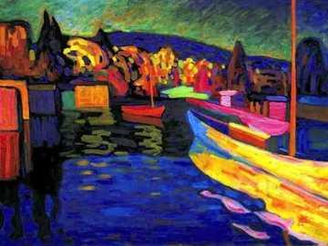 Vassili Kandinskji jesień krajobraz - krajobraz malowany kontrastem czystych kolorów
