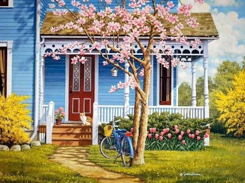Wiejski domek z ogródkiem. - Wiejski domek z ogródkiem.