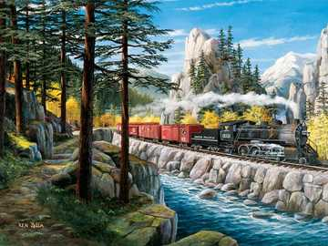 Landscape with a train. - Puzzle. Landscape with a train.