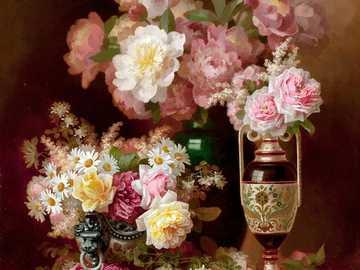 Martwa natura z pionami - Malowanie piwonii i różnych kwiatów, wazon, stół, obrus, aksamit.
