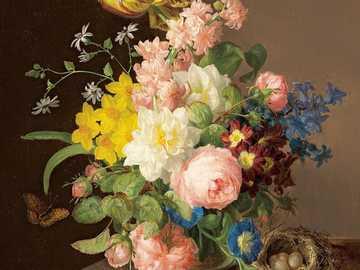 Martwa natura z kwiatami - Malowanie motywem kwiatowym, stół, ptasie gniazdo, motyl.