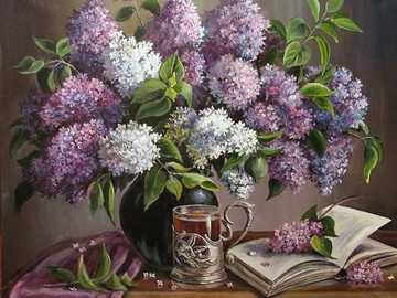 Bouquet di lillà - Dipinto con motivi floreali, lilla, libro, tazza di tè, tavolo.