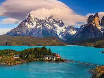Lake On The Background Of Mountains, National Park - Lake On The Background Of Mountains, National Park, Chile