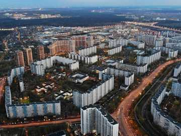 strogino - aerial view of city buildings during daytime. Strogino District, Moscow, Russia