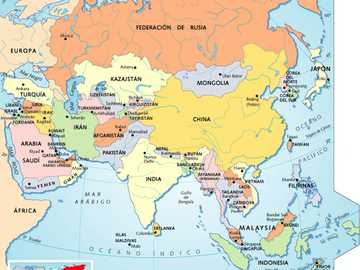 Carte de l'Asie - C'est le continent le plus grand et le plus peuplé de la Terre. Avec environ 45 millions de km