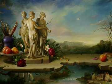 Fantazja artystyczna - Statuetka, kwiaty, owoce, pędzel, rzeka, góra