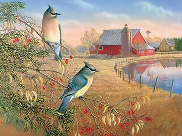 Puzzle de pays. - Puzzle: paysage rural.