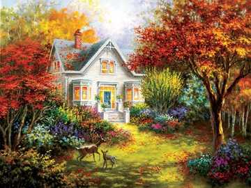Autumn Village. - Painting. autumn village.