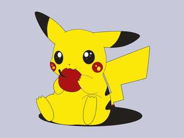 Pikachu is eating an apple - Pikachu is my mouse and pokemon loves to eat an apple and drink coffee is 20 years old and has great