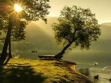 krajobraz - Lato - wschód słońca- woda