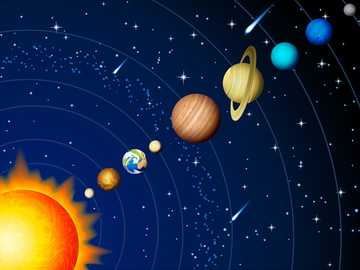 the solar system - the planets of the solar system, puzzle for children, degree of difficulty very easy