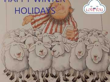 Happy Winter Holidays - Shepherd and sheep in puzzle to assemble on winter holidays