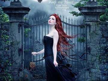 Redhead woman and crow - Redhead woman and crow