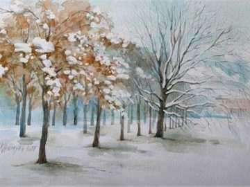 winter painting - winter landscape with snow by unknown author