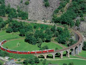 Rhaetian railways. - Swiss landscape.
