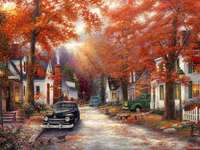 Painted Autumn. - Autumn town. Painting. Puzzle. Autumn.