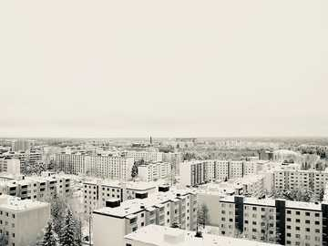 Cold winter in North - high angle photo of cityscape.