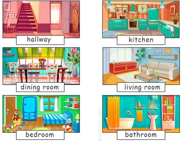 A ház néhány része angolul - Azonosítsa a ház egyes részeit angolul (4×3)