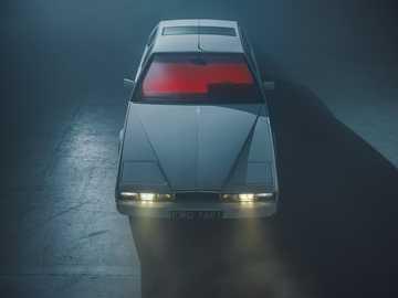 Aston Martin Lagonda - Esta es una foto de un Aston Martin Lagonda con sus faros encendidos