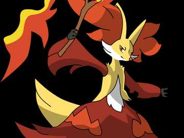 Delphox with rod - Delphox with stick fighting