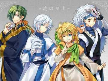 Drachenbrüder - die vier Drachenkrieger aus Yona der Morgendämmerung. Hier sind der blaue Drache Sin-ha, der weiße