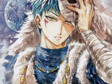 maschera di drago blu - Sin-ha di yona dell'alba con la sua maschera.