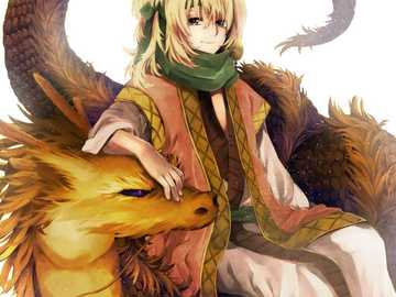 dragon chair - Zeno the yellow in yona of the dawn, seated on a yellow dragon!