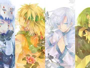 Dragones de amarillo, blanco, azul y verde - Los dragones de Yona del alba. Dragón amarillo Zeno, Dragón blanco Gija, Dragón azul Sin-ha y Dra