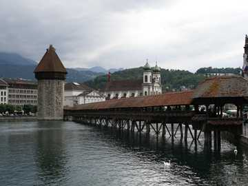 Lucerne bridge - The famous Bridge in Swiss Lucerne