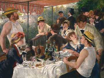 "Lunch at the boat party - ""Boat Party Lunch"" by Pierre Auguste Renoir. Celebration, people, tablecloth, table, chair"