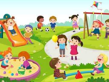 En el parque - Algunos niños jugando en el parque