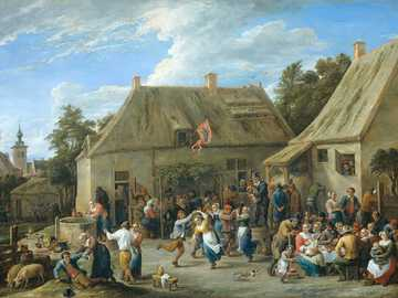 people sitting on brown wooden bench during daytime - Title: Peasant Kermis. Date: 1665. Institution:Rijksmuseum. Provider: Rijksmuseum. Providing Country