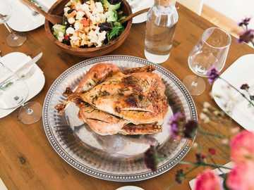 Roasted turkey - roasted chicken. Lausanne, Switzerland