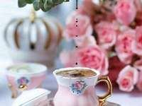 cup of coffee and roses - pink cup with coffee and pink roses