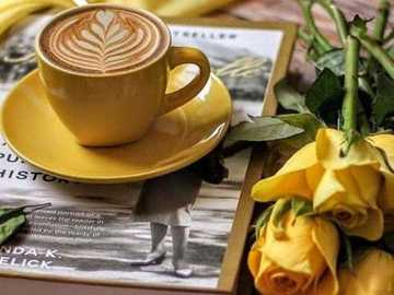 coffee and golden yellow - coffee in a golden yellow cup and golden yellow roses