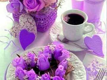 romantic coffee - romantic coffee - decoration and roses with cyclamen color