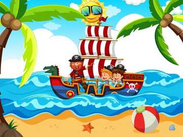 cesta pirátů do moře lodí - na tomto obrázku jsou tři piráti, kteří se vydali hledat poklad