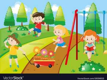 en el patio de recreo con amigos - hay niños en el parque, un niño salta y una niña lee un libro