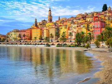 Menton city on Cote d'Azur - The city of lemons, as it is often called, is located in the sunny south on the Côte d'Azur and e
