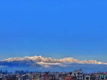 snow-covered mountain - Snow covered hill surrounding Kathmandu valley. Dhunche Rd 8, Madhyapur Thimi 44600, Nepal, Madhyapu